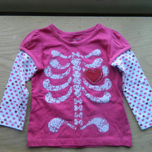 Wonderkids 18 month pink skeleton long sleeveshirt